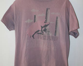 PINK FLOYD ANIMALS vintage pink 80's tee size L