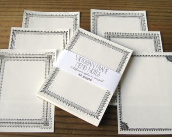"""Victorian Frame Border Memo Note Pad with 6 Different Designs in One Pad 3x4"""" 60 pages Recycled Paper"""