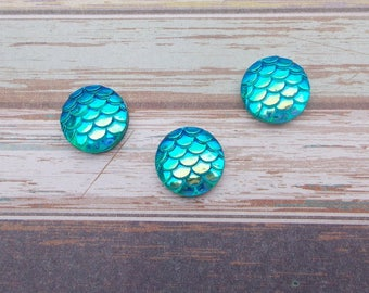10 pieces round Cabochon 12 mm Mermaid/dragon - color aqua/blue iridescent Rainbow AB