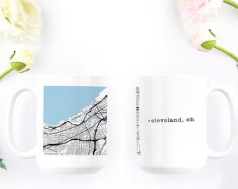 Coffee Mug - Cleveland Ohio - Coffee Mug for Men - Big Mug - City Map - Coffee Cup - Large Coffee Mug