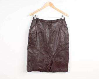 Faux Leather Skirt Brown Knee Length Straight Skirt Vegan Leather Midi Skirt