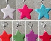 Turquoise Star Progress Keeper for Crocheters, Knitter's Removable Stitch Marker, Purse Charm, Zipper Pull, Knit Crochet Accessory SPK396