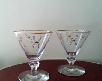 Vintage mid century cordial glasses / Set of 2 / gold atomic design / vintage barware