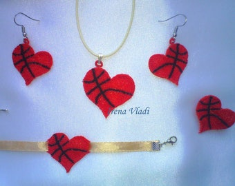 FSL Basketball Heart Jewelry Free Standing Lace - Machine Embroidery design 4x4hoop - 1 size, sport earrings/jewelry, basketball embroidery