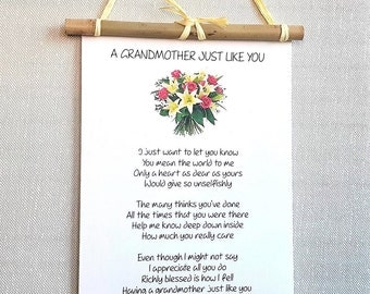 Mothers Day Gift For Grandmother Gift For Nana Personalised Gift For Grandma Grandparents Gift  Gift From Grandchildren, Poem print Wall art
