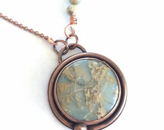 Copper necklace, Jasper necklace, copper jewelry, round pendant, blue Jasper, gift for her, statement pendant, made in Santa Fe,
