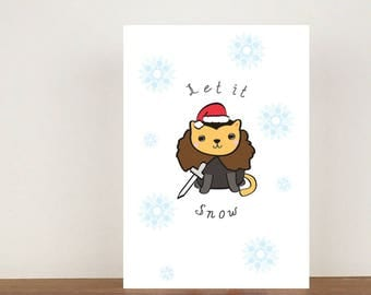 Let It Snow Christmas Card, Cat cards, greeting cards, Christmas card, cats, cat Christmas card, Christmas, let it snow, game of thrones