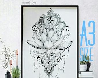 A3 Boho Lotus Flower Mandala Dotwork Bohemian Drawing Art Print