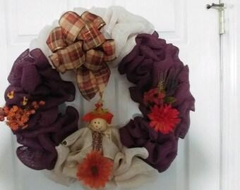 Fall burlap two tone color wreath
