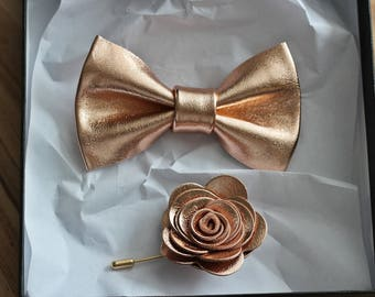 Rose Gold leather bow tie for men,boys rose gold wedding bow tie,cooper wedding boutonnere, genuine gold leahther toddler,rose gold bow tie