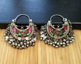 Vintage Handmade Earrings Afghan Kuchi Tribal Jewelry Boho Gypsy Belly Dancing Woman Fashion Earrings Indian Tibetan Ethnic Banjara Earrings