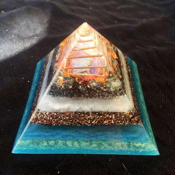 Healing Orgonite® Pyramid- Blue Aptite- Opal- Gold Earth Energy Grounding Oronge Pyramid- Connection with Higher Self Raise Vibrations