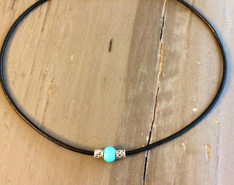 Leather choker with aqua color  or teal color glass bead