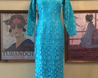 Gorgeous Turquoise Blue Cheongsam Long Sleeve Size Small