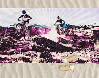 Beach Towel, mountain bike art, man beach towel, bike art, Cycling Art, Beach Art, Men gift, Cycling Gift, Beach Gift, BMX bike, bicycle art