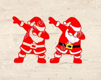 SALE Dabbing Santa SVG, dxf, PNG, eps File for Silhouette, Cricut, Vectors, Designs, Christmas, Winter, Holidays, Set  2, Cut File, Digital