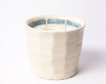7 oz Double Wick Lemongrass and Orange EO Intention Candle in White and Blue Wheel Thrown Ceramic Cup