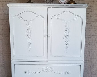 Beautiful, Vintage, Chic, Baby, Armoire, Cabinet, HandPainted, White, Shabby Chic, Boho Style, Cottage