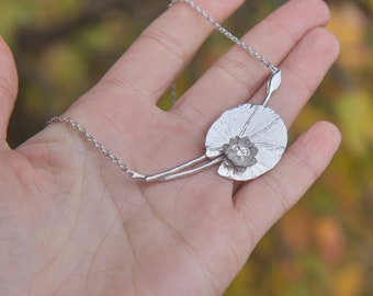 Lotus flower necklace Oringo yoga jewelry floral Sterling silver 925