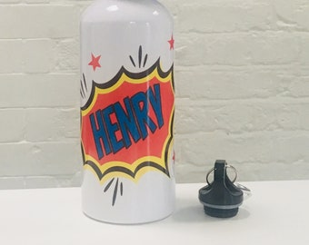 Personalised Pow / Comic Book Aluminium Water Bottle