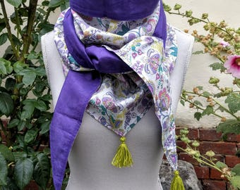 Triangle cotton, liberty, purple scarf