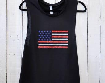 American Flag, glitter muscle tank