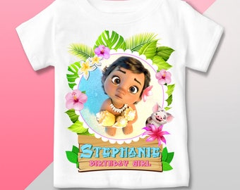 T Shirt Moana Baby - Birthday Party - Personalized Outfit - Gift favor event