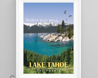 LAKE TAHOE, CALIFORNIA, Vintage Travel Poster, A4/A3 Print, Custom Options.