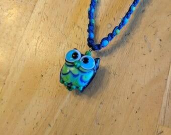 Owl Necklace, Blue Owl Necklace, Green Owl Necklace, Hemp Owl Necklace, Glass Owl, Owl Pendant, Blue Hemp Necklace, Hemp Necklace, Blue Hemp