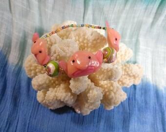 Blob fish bracelet, blobfish bracelet, beaded bracelet, fish bracelet
