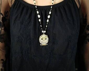 owl, owl necklace, owl pendant, owl pendant necklace, gold owl, gold necklace, pearl necklace, black necklace, pendant necklace, beaded neck