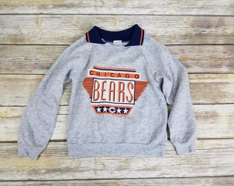 Vintage 70s 80s Rare Chicago Bears NFL Football Acrylic Gray Pullover Sweater | Toddler Size 5T