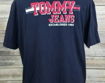 Tommy Hilfiger 90s Tommy Jeans Vintage Navy Blue Spell Out Shirt | Adult Size Large L | 1990s Hip Hop Clothing