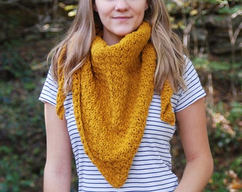 Yellow Crochet Triangle Scarf