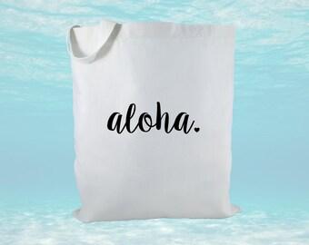 Aloha Canvas Tote Bag, Hawaii Canvas Tote Bag, Hawaii Gift, Beach Bag, Bridal Gift, Women's Gift, Gift Bag, Wedding Welcome Bag
