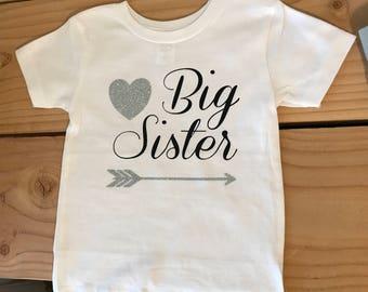 Big sister or little sister shirt or infant bodysuit
