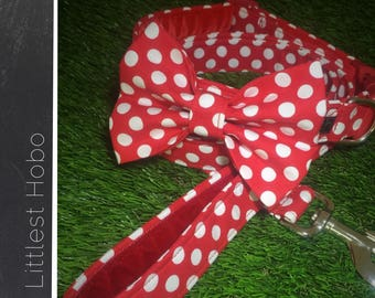 Red and white dog collar and lead, red and white spots, spotty dog collar, puppy collar, tiny dog collar, large dog collar, unique collar