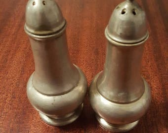 Antique Mayflower Pewter Salt and Pepper Shakers