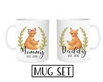 Mommy Daddy Mugs, Pregnancy Reveal Mugs, Pregnancy Announcement to Husband, Mom Dad Mugs, New Parent Gift, Parent to Be Gifts, Fox Mugs