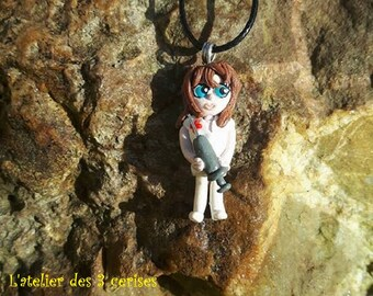 """Nursing necklace """"CHAMOMILE"""" made of polymer clay."""
