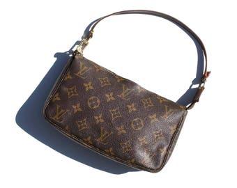 Authentic Louis Vuitton Monogram Pochette Accessoires Purse Clutch Bag Handbag Evening Cosmetic Pouch YO4015