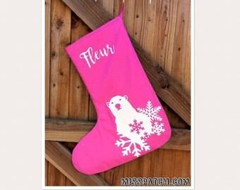 Personalised Polar Bear Christmas Stocking