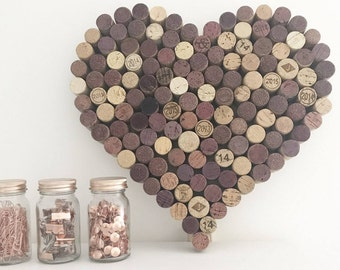 Recycled Wine Cork Memo Board - Heart - Small