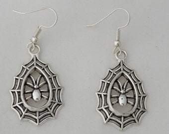 Halloween spider web earrings, creepy insect earrings, gothic earrings, Halloween costume jewellery gift, animal earrings, sterling silver
