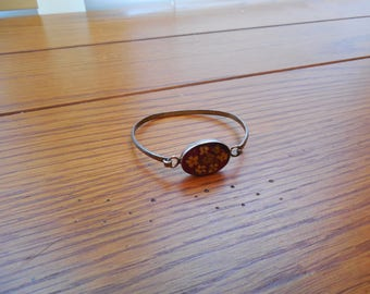Vintage Oval Resin Bracelet with Real Flowers - 925 Silver