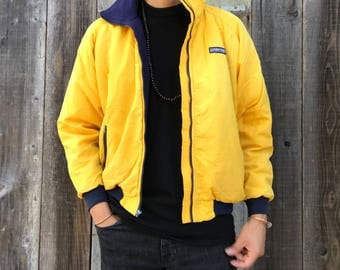 90s Lands End Jacket | Yellow Lands End Jacket | Mens Insulated Squall Jacket | Mens Winter Coat | 90s Winter Jacket | Mens Vintage Clothing