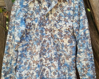 Vintage Men's Button Up Shirt, Blue and Brown Floral Pattern, Shirt Designs Inc.