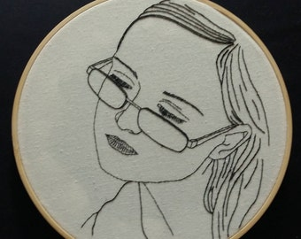 Custom Embroidered Portrait Hoop Art