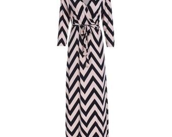 Maxi Dress,nursing gown,long dress,chevron Dress, plunging neckline dress