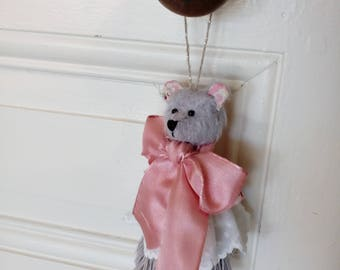 Jewelry holder with mohair bear head